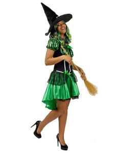 Hexe Haloween damenkostüm grün-schwarz
